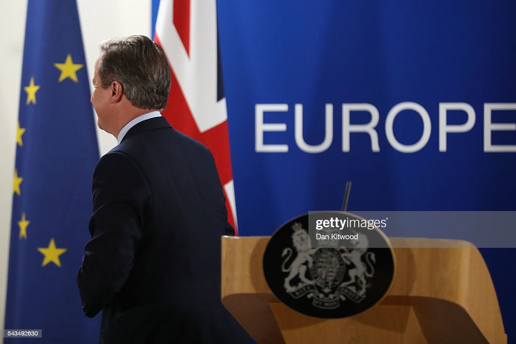 British Prime Minister <a gi-track='captionPersonalityLinkClicked' href=/galleries/search?phrase=David+Cameron+-+Politician&family=editorial&specificpeople=227076 ng-click='$event.stopPropagation()'>David Cameron</a> leaves after delivering his final press briefing at the Council of the European Union on June 28, 2016 in Brussels, Belgium. British Prime Minister <a gi-track='captionPersonalityLinkClicked' href=/galleries/search?phrase=David+Cameron+-+Politician&family=editorial&specificpeople=227076 ng-click='$event.stopPropagation()'>David Cameron</a> will hold talks with other EU leaders in what will likely be his final scheduled meeting with the full European Council before he stands down as Prime Minister. The meetings come at a time of economic and political uncertainty following the referendum result last week which saw the UK vote to leave the European Union.