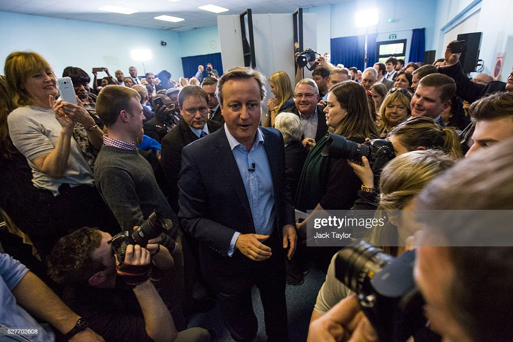 British Prime Minister David Cameron leaves at a mayoral campaign rally at Grey Court School in Richmond on May 3, 2016 in London, England. The Prime Minister joined the Conservative Mayoral candidate Zac Goldsmith at Grey Court School on the penultimate day of campaigning. Former pupils of the school include London's Cycling Commissioner, Andrew Gilligan. Londoners go to the polls on Thursday 5th May with the declaration expected later on Friday 6th. The current Mayor of London is the Conservative MP for Henley, Boris Johnson.