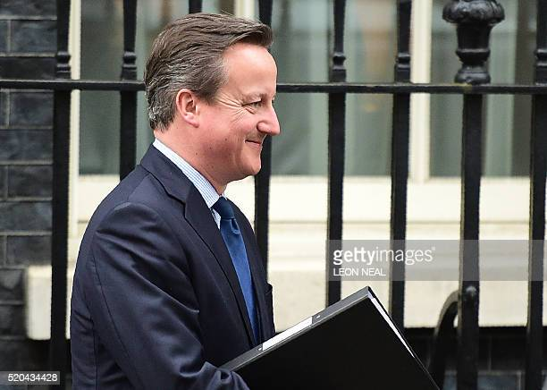 British Prime Minister David Cameron leaves Downing street to make a statement at the Houses of Parliament on April 11 2016 in London Cameron braced...