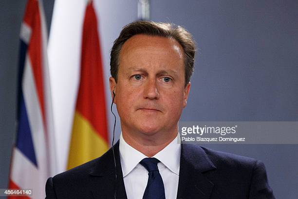 British Prime Minister David Cameron looks on during a press conference at Moncloa Palace on September 4 2015 in Madrid Spain David Cameron is...