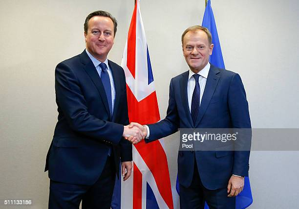 British Prime Minister David Cameron meets European Council President Donald Tusk for a bilateral meeting ahead of a European Union leaders summit at...