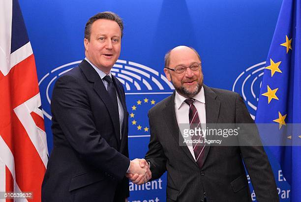 British Prime Minister David Cameron meets European Parliament President Martin Schulz in Brussels Belgium on February 16 2016
