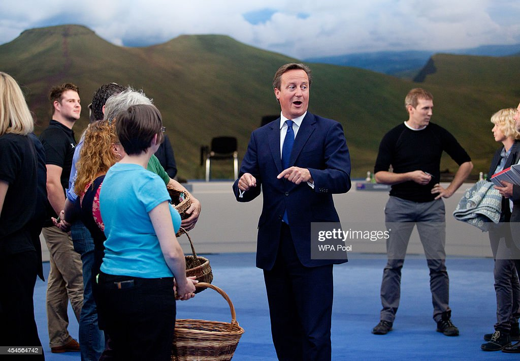 British Prime Minister David Cameron meets local producers who have helped supply this year's NATO Summit at Celtic Manor with local goods and produce on September 3, 2014 in Newport, Wales, United Kingdom. Final preparations are being made in both Cardiff and Newport, where the summit is being hosted at the Celtic Manor Resort.