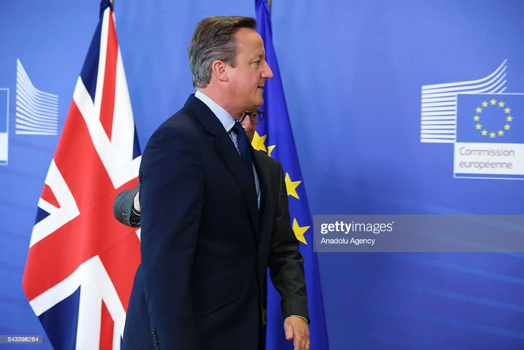 British Prime Minister David Cameron (Front) meets the President of the European Commission, Jean-Claude Juncker (Rear) ahead of the EU Leaders Summit in Brussels, Belgium on June 28, 2016.