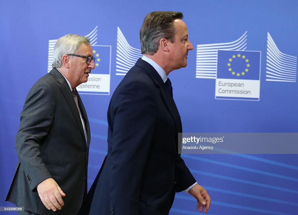 British Prime Minister David Cameron (R) meets the President of the European Commission, Jean-Claude Juncker ahead of the EU Leaders Summit in Brussels, Belgium on June 28, 2016.