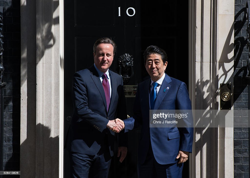 British Prime��Minister, David Cameron, meets the Prime Minister of Japan,��Shinz�� Abe, at Downing Street on May 5, 2016 in London, England. Mr Abe is the current serving Prime Minister of Japan and was re-elected to the position in December 2012.