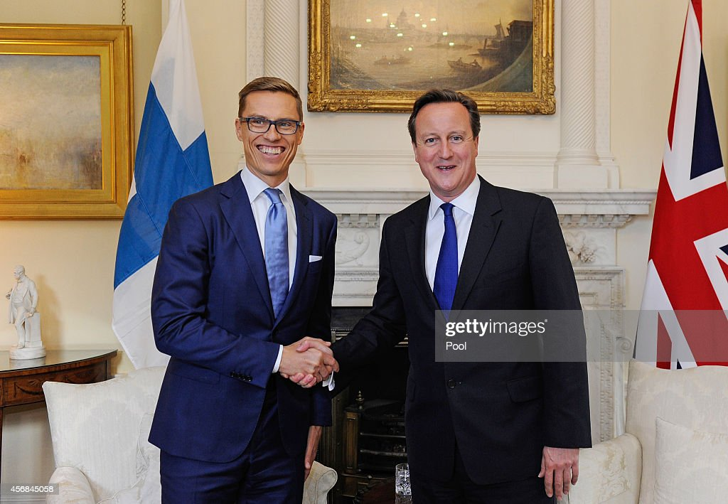 British Prime Minister David Cameron (R) meets the Prime Minister of Finland <a gi-track='captionPersonalityLinkClicked' href=/galleries/search?phrase=Alexander+Stubb&family=editorial&specificpeople=2157393 ng-click='$event.stopPropagation()'>Alexander Stubb</a> inside N10 Downing Street on October 8, 2014 in London, United Kingdom.