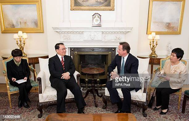 British Prime Minister David Cameron meets with Chinese Communist Party official Li Changchun at Downing Street on April 17 2012 in London England...