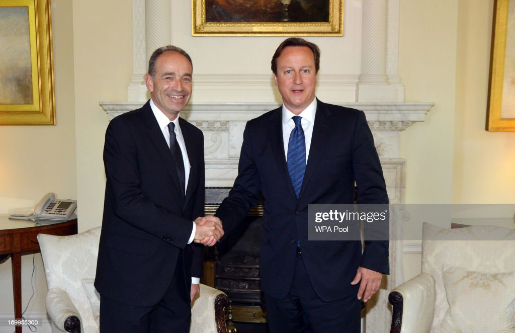 British Prime Minister David Cameron (R) meets with French opposition UMP leader Jean-Francois Cope at 10 Downing Street on June 6, 2013 in London, England. French politician Jean-Francois Cope is visiting London for two days, during which he will attend a variety of meetings and engagements.
