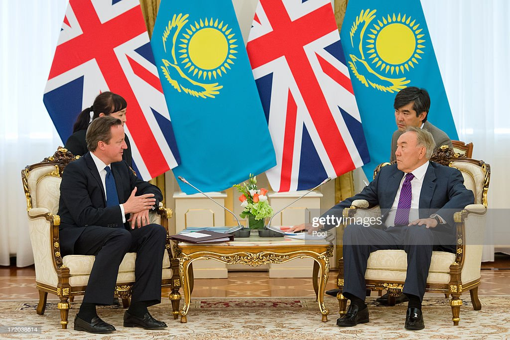 British Prime Minister David Cameron (L) meets with Kazakhstan President Nursultan Nazarbayev at the Presidential Palace on July 1, 2013 in Astana, Kazakhstan. Cameron is visiting Kazakhstan as part of a trade mission; the first ever trip to the country by a serving British Prime Minister, after making an unannounced trip to visit troops in Afghanistan and meeting with the Prime Minister of Pakistan in Islamabad.