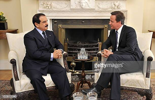 British Prime Minister David Cameron meets with the King of Bahrain Hamad bin Isa AlKhalifa at 10 Downing Street in London on July 15 2010 AFP...