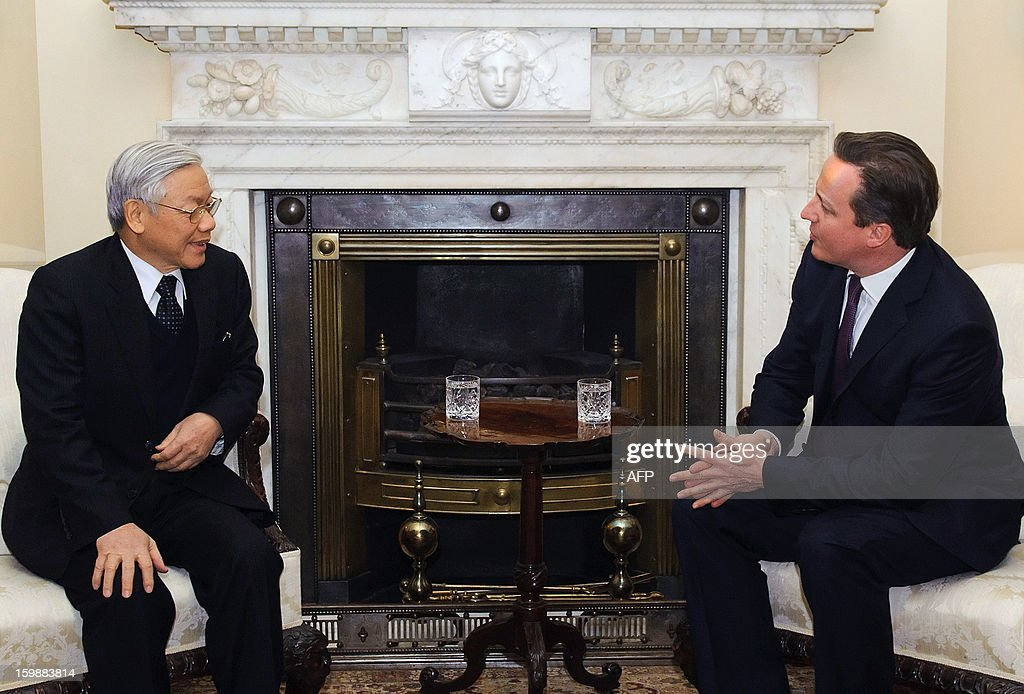 British Prime Minister David Cameron (R) meets with Vietnamese General Secretary of the Communist Party Nguyen Phu Trong at 10 Downing Street in central London on January 22, 2013.