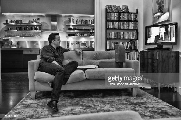 British Prime Minister David Cameron photographed in his flat above 11 Downing Street while watching BBC 10 O'clock News report on the European...