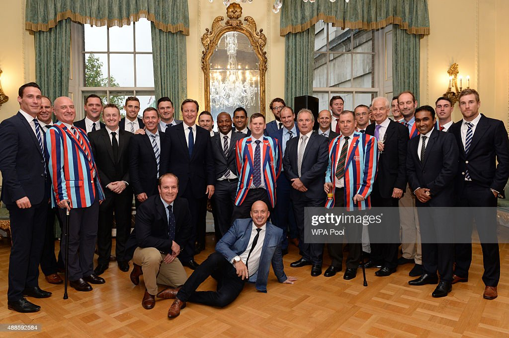 British Prime Minister <a gi-track='captionPersonalityLinkClicked' href=/galleries/search?phrase=David+Cameron+-+Politico&family=editorial&specificpeople=227076 ng-click='$event.stopPropagation()'>David Cameron</a> poses with cricketers and veterans of the armed forces at a reception at a reception ahead of tomorrow's Help for Heroes Twenty20 cricket match, at No.10 Downing Street on September 12, 2015 in London, England. The Prime Minister held the reception for those taking part in the Twenty20 cricket matches at the Kia Oval tomorrow, which will be held to raise funds for Help for Heroes.