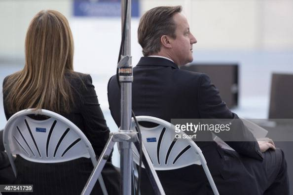 British Prime Minister David Cameron prepares to deliver a speech from the Velodrome on the 2012 Olympic Park to campaign for a 'no' vote in...