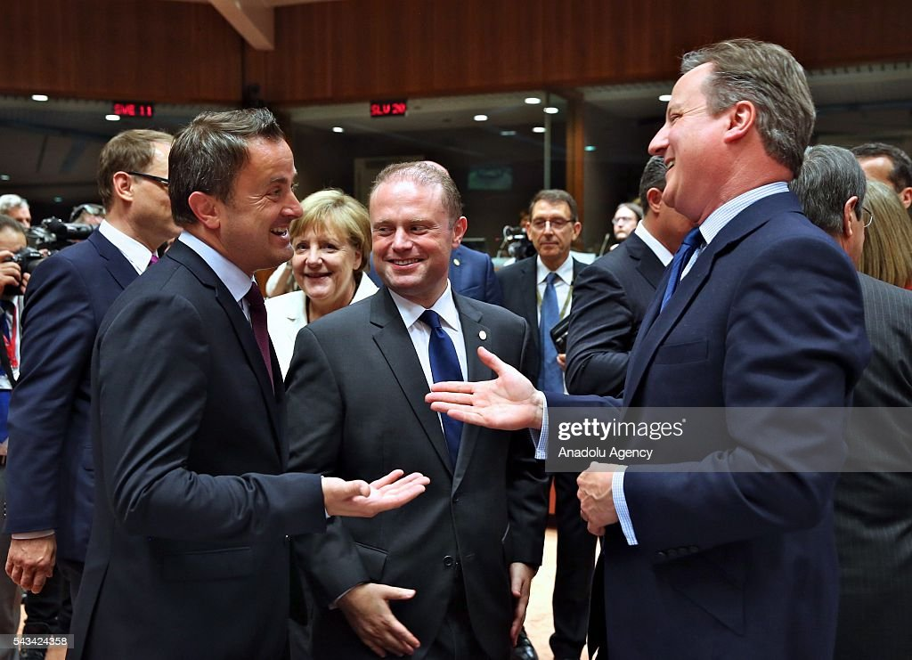 British Prime Minister David Cameron (R), Prime Minister of Luxembourg Xavier Bettel (L) and Prime Minister of Malta, Joseph Muscat (C) attend EU Leaders Summit at the European Union headquarters in Brussels, Belgium on June 28, 2016.