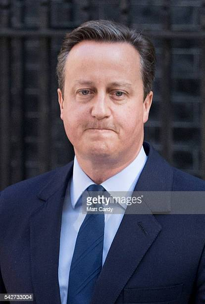 British Prime Minister David Cameron resigns on the steps of 10 Downing Street on June 24 2016 in London England The results from the historic EU...