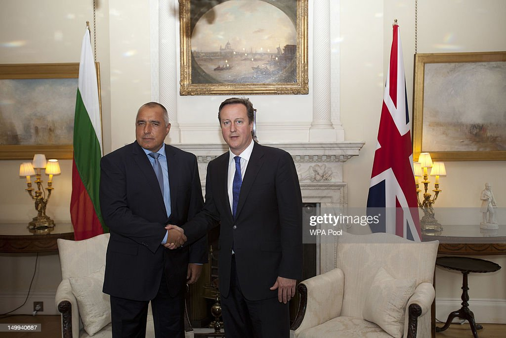 British Prime Minister <a gi-track='captionPersonalityLinkClicked' href=/galleries/search?phrase=David+Cameron+-+Politician&family=editorial&specificpeople=227076 ng-click='$event.stopPropagation()'>David Cameron</a> (R) shakes hands with Bulgarian Prime Minister <a gi-track='captionPersonalityLinkClicked' href=/galleries/search?phrase=Boyko+Borisov&family=editorial&specificpeople=5906164 ng-click='$event.stopPropagation()'>Boyko Borisov</a> inside number 10 Downing street on August 07, 2012 in London, England. Borisov's on two-day working visit to the United Kingdom, and is due to discuss bilateral economic relations and counter-terrorism efforts in the wake of the recent terrorist attack which killed five Israeli tourists at Burgas Airport in Bulgaria.