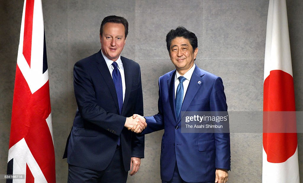 British Prime Minister David Cameron (L) shakes hands with Japanese Prime Minister <a gi-track='captionPersonalityLinkClicked' href=/galleries/search?phrase=Shinzo+Abe&family=editorial&specificpeople=559017 ng-click='$event.stopPropagation()'>Shinzo Abe</a> (R) during a bilateral meeting ahead of the Group of Seven summit on May 25, 2016 in Shima, Mie, Japan. The Group of Seven summit takes place on May 26 and 27 to discuss key global issues such as global economy and anti terrorism measures.