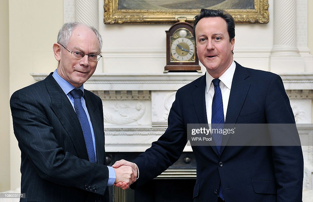 British Prime Minister <a gi-track='captionPersonalityLinkClicked' href=/galleries/search?phrase=David+Cameron+-+Politician&family=editorial&specificpeople=227076 ng-click='$event.stopPropagation()'>David Cameron</a> (R) shakes hands with President of the European Council, <a gi-track='captionPersonalityLinkClicked' href=/galleries/search?phrase=Herman+Van+Rompuy&family=editorial&specificpeople=4476281 ng-click='$event.stopPropagation()'>Herman Van Rompuy</a> at 10 Downing Street January 13, 2011 in London. Van Rompuy spoke of the current economic woes being experienced by some eurozone members and that they were being given 'no chance at all' by the markets.