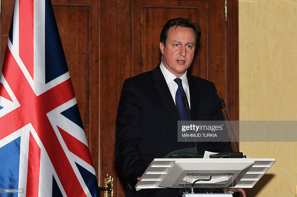 British Prime Minister David Cameron speak during a press conference with Libyan prime minister Ali Zaidan (not pictured) after their meeting in Tripoli on January 31, 2013. Cameron does a surprise visit in Libya following a one-day-visit in Algeria in the wake of this month's hostage crisis in the Sahara in which several Britons were killed. AFP PHOTO/MAHMUD TURKIA