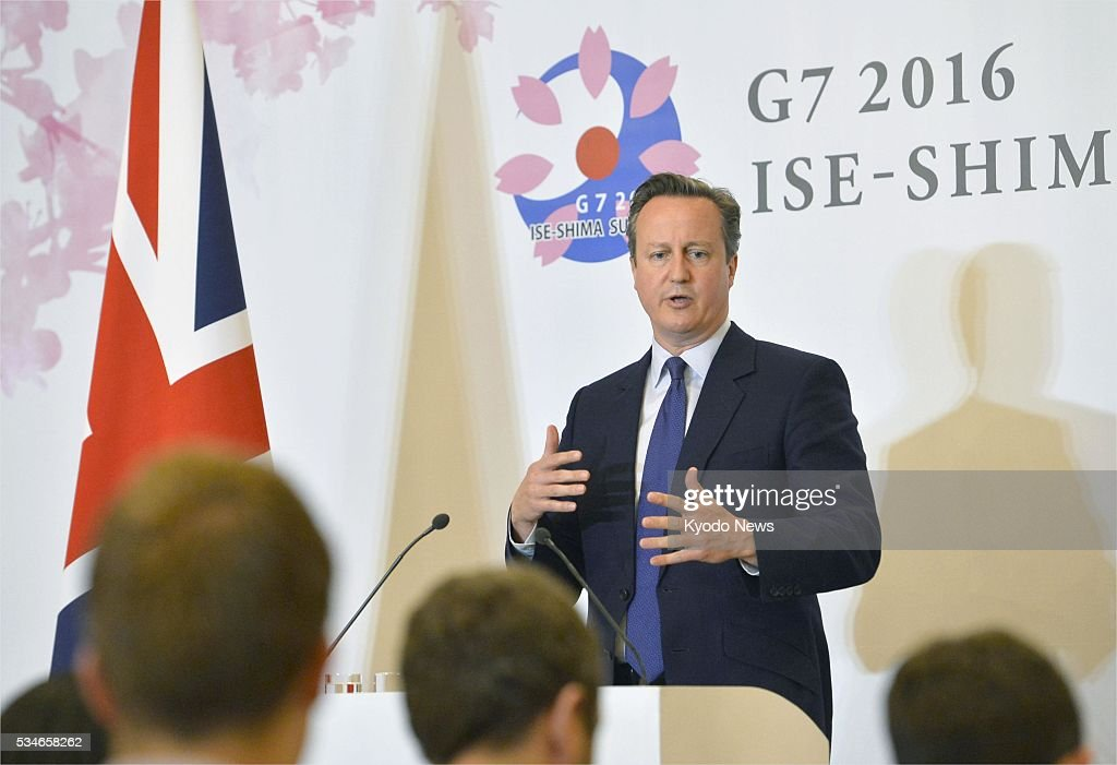 British Prime Minister <a gi-track='captionPersonalityLinkClicked' href=/galleries/search?phrase=David+Cameron+-+Politician&family=editorial&specificpeople=227076 ng-click='$event.stopPropagation()'>David Cameron</a> speaks at a press conference in Shima, Mie Prefecture, on May 27, 2016, after attending a two-day Group of Seven summit.