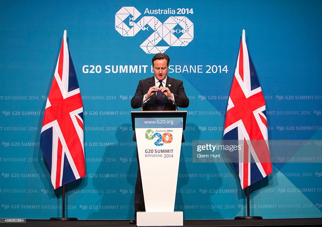 British Prime Minister David Cameron speaks at a press conference during the G20 Summit on November 16, 2014 in Brisbane, Australia. Cameron spoke on Russia's handling of the crisis in Ukraine. World leaders have gathered in Brisbane for the annual G20 Summit and are expected to discuss economic growth, free trade and climate change as well as pressing issues including the situation in Ukraine and the Ebola crisis.