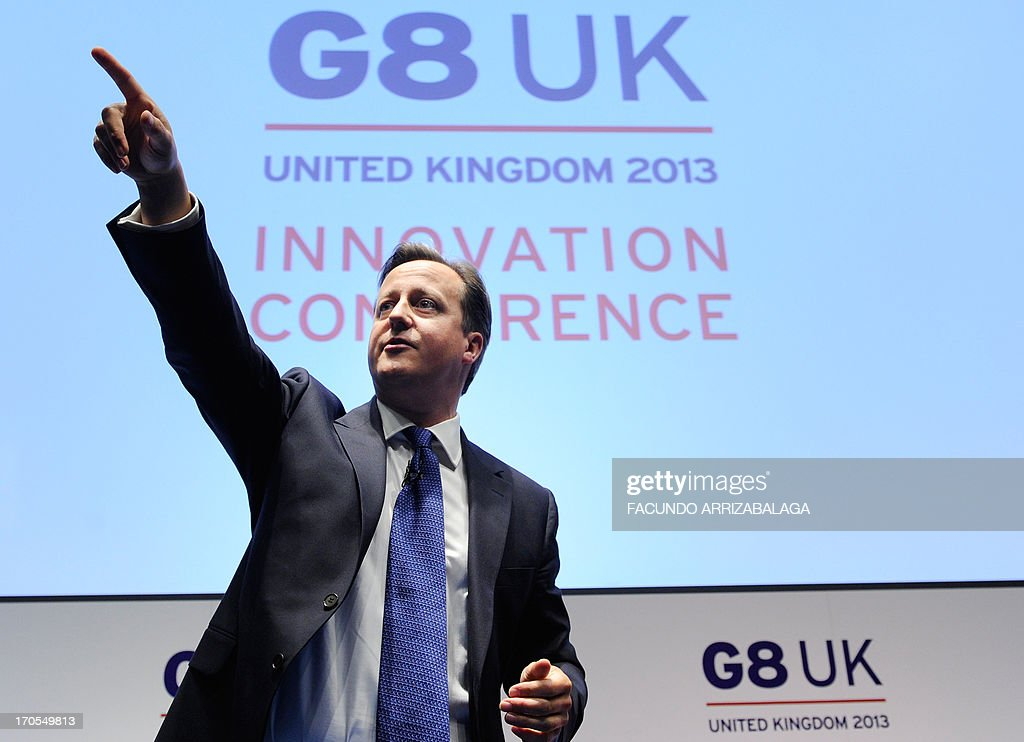 British Prime Minister David Cameron speaks at the G8 UK Innovation Conference at the Siemens Crystal Building in central London on June 14, 2013. As part of UK's G8 Presidency, the G8 Innovation Conference brings together 300 leading international entrepreneurs, researchers, scientists, designers and policy makers.