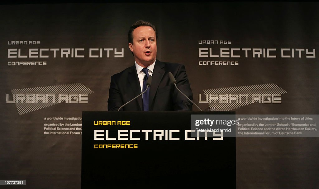 British Prime Minister <a gi-track='captionPersonalityLinkClicked' href=/galleries/search?phrase=David+Cameron+-+Politician&family=editorial&specificpeople=227076 ng-click='$event.stopPropagation()'>David Cameron</a> speaks at the The Electric City Conference on December 6, 2012 in London, England. The conference is looking at how the combined forces of technological innovation and the global environment crisis are affecting urban society.