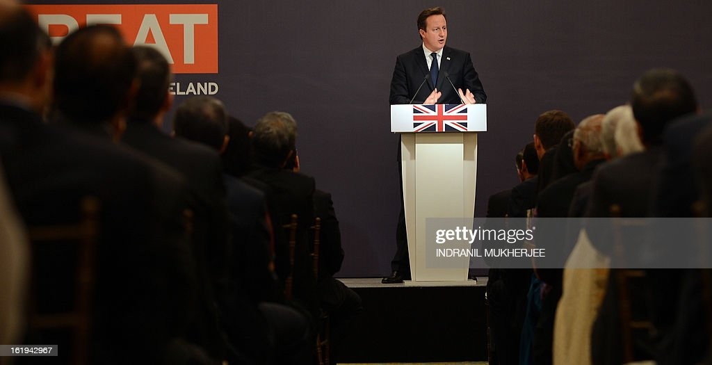 British Prime Minister David Cameron speaks during a business seminar in Mumbai on February 18, 2013. Cameron arrived in India's financial hub Mumbai on a three-day trade-focused visit clouded by a corruption scandal over British-made helicopters sold to New Delhi. AFP PHOTO/Indranil MUKHERJEE