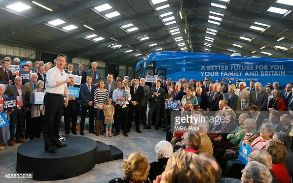 British Prime Minister David Cameron speaks during a Conservative Party rally at The Royal Cornwall Show ground on April 7 2015 in Wadebridge United...