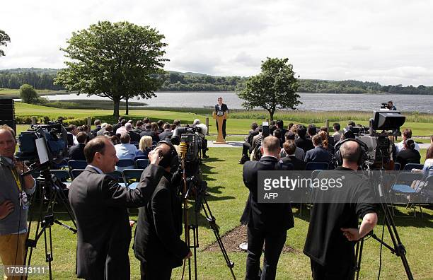 British Prime Minister David Cameron speaks during a press conference at the conclusion of the G8 summit in the Lough Erne resort near Enniskillen...