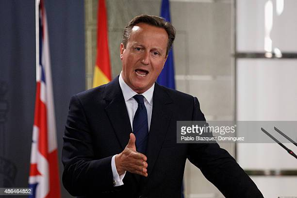 British Prime Minister David Cameron speaks during a press conference at Moncloa Palace on September 4 2015 in Madrid Spain David Cameron is visiting...