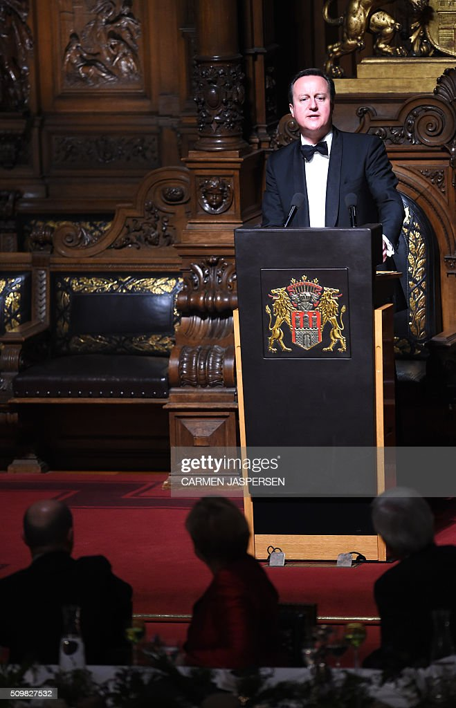 British Prime Minister David Cameron speaks during the Matthiae-Mahr Dinner in Hamburg, northern Germany on February 12, 2016. / AFP / CARMEN JASPERSEN