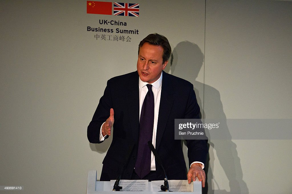 British Prime Minister David Cameron speaks during the UK-China Business Summit, at Mansion House on October 21, 2015 in London, England. The President of the People's Republic of China Xi Jinping and his wife, Madame Peng Liyuan, are currently on a State Visit to the United Kingdom as guests of The Queen. They will stay at Buckingham Palace and undertake engagements in London and Manchester. The last state visit by a Chinese President to the UK was Hu Jintao in 2005.