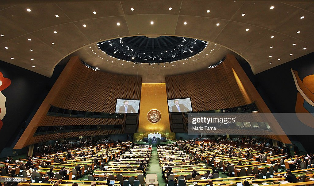 British Prime Minister David Cameron speaks during the United Nations General Assembly at UN headquarters on September 22 2011 in New York City This...