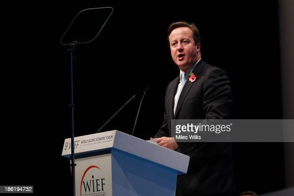 British Prime Minister David Cameron speaks on stage during the Leaders Panel at the 9th World Islamic Economic Forum at ExCel on October 29 2013 in...
