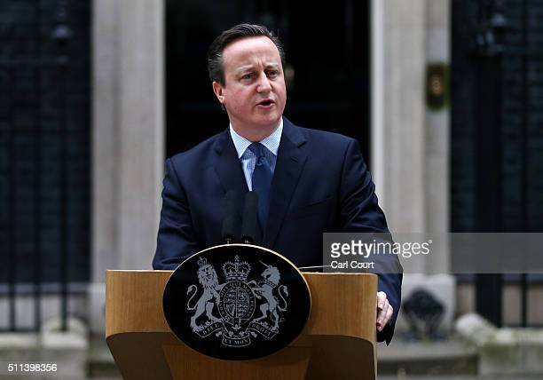 British Prime Minister David Cameron speaks outside 10 Downing Street on February 20 2016 in London England Mr Cameron has returned to London after...