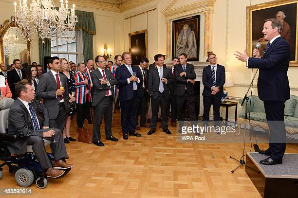 British Prime Minister David Cameron speaks to cricketers and veterans of the armed forces at a reception at a reception ahead of tomorrow's Help for...