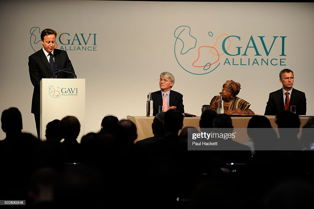 British Prime Minister David Cameron speaks to Global leaders gather for the Gavi Alliance conference to drive a new, forceful impetus to immunisation efforts in the worlds poorest countries on 13th June 2016 in London, United Kingdom. Gavi, the Vaccine Alliance is a public-private global health partnership committed to increasing access to immunisation in poor countries. The organisation brings together developing country and donor governments, the World Health Organization, UNICEF, the World Bank, the vaccine industry in both industrialised and developing countries, research and technical agencies, civil society, the Bill & Melinda Gates Foundation and other private philanthropists.
