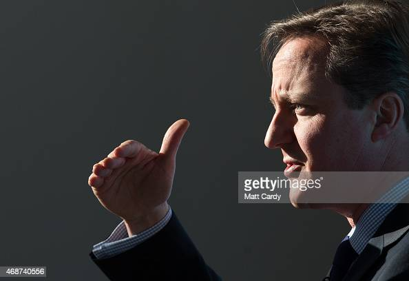 British Prime Minister David Cameron speaks to party supporters gathered at the Bristol and Bath Science Park on April 6 2015 in Bristol England...