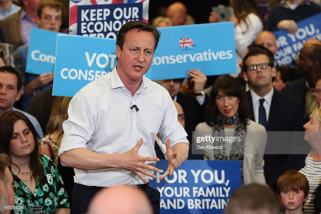 British Prime Minister David Cameron speaks to supporters during a rally at Hayesfield Girls' School on May 4, 2015 in Bath, United Kingdom. Campaigning is intensifying as the election enters it's last few days before voting begins on May 7, 2015.
