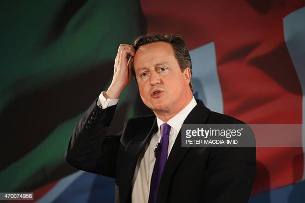 British Prime Minister David Cameron speaks to supporters during the launch of the Welsh Conservative manifesto on April 17 2015 in Builth Wells...