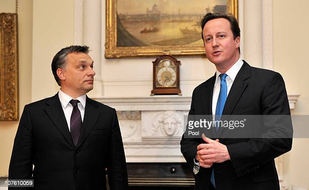 British Prime Minister David Cameron speaks to the Hungarian Prime Minister Viktor Orban inside number 10 Downing Street on December 15 2010 in...