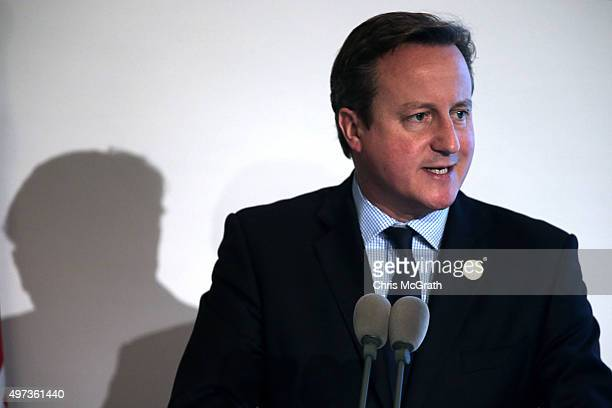 British Prime Minister David Cameron speaks to the media during a press conference on day two of the G20 Turkey Leaders Summit on November 16 2015 in...