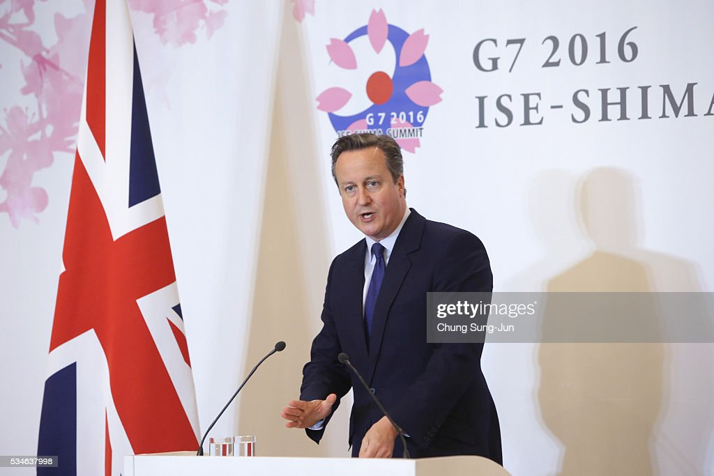 British Prime Minister <a gi-track='captionPersonalityLinkClicked' href=/galleries/search?phrase=David+Cameron+-+Pol%C3%ADtico&family=editorial&specificpeople=227076 ng-click='$event.stopPropagation()'>David Cameron</a> speaks to the media during a press conference on May 27, 2016 in Ise, Japan. In the two-day summit, the G7 leaders discussed the pressing global issues including counter-terrorism, energy policy, and sustainable development.