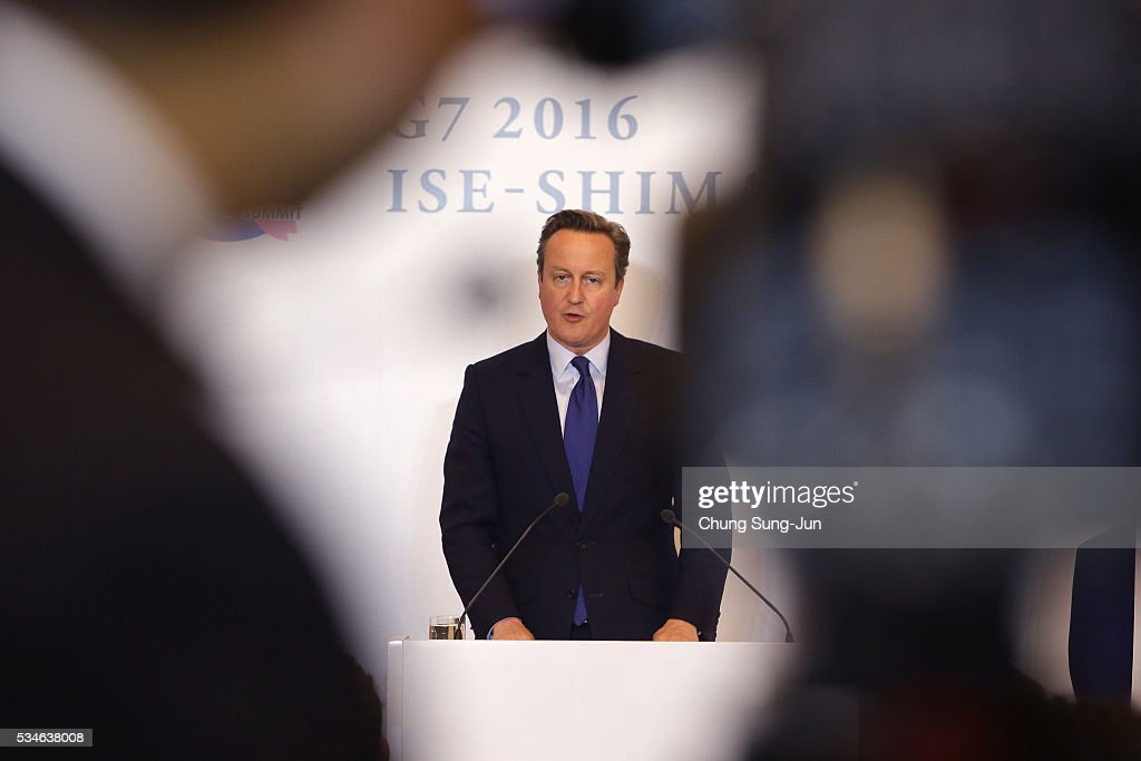 British Prime Minister <a gi-track='captionPersonalityLinkClicked' href=/galleries/search?phrase=David+Cameron+-+Politician&family=editorial&specificpeople=227076 ng-click='$event.stopPropagation()'>David Cameron</a> speaks to the media during a press conference on May 27, 2016 in Ise, Japan. In the two-day summit, the G7 leaders discussed the pressing global issues including counter-terrorism, energy policy, and sustainable development.