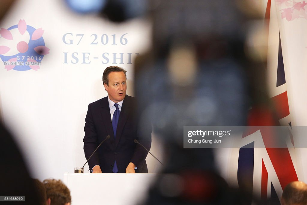 British Prime Minister David Cameron speaks to the media during a press conference on May 27, 2016 in Ise, Japan. In the two-day summit, the G7 leaders discussed the pressing global issues including counter-terrorism, energy policy, and sustainable development.