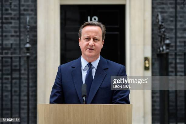 British Prime Minister David Cameron speaks to the press in front of 10 Downing street in London on June 21 2016 Cameron warned today that a vote to...