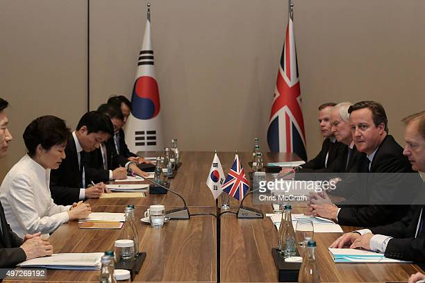 British Prime Minister David Cameron speaks with Korean President Park Geunhye during a bilateral meeting on day one of the G20 Turkey Leaders Summit...